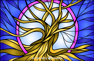 Vector de Tree Of Life Stained Glass Style Illustration