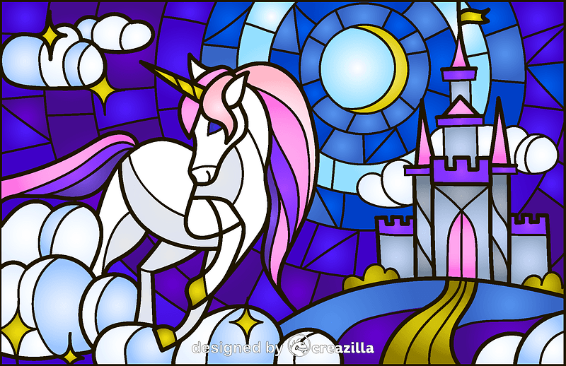 Unicorn Stained Glass Style Illustration vector