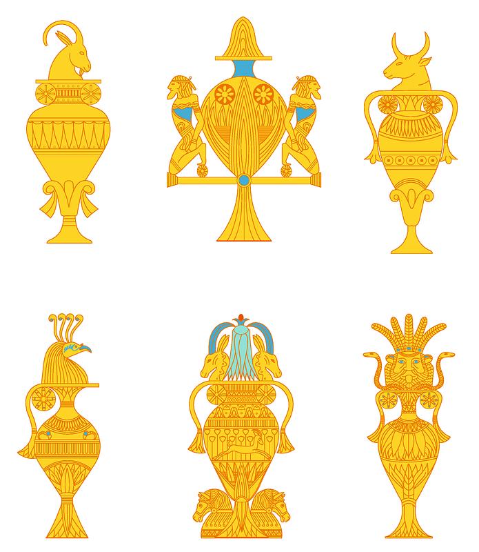Immagine vettoriale di Egyptian vases set 1