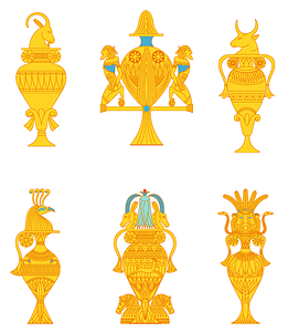 Egyptian vases set 1 vector