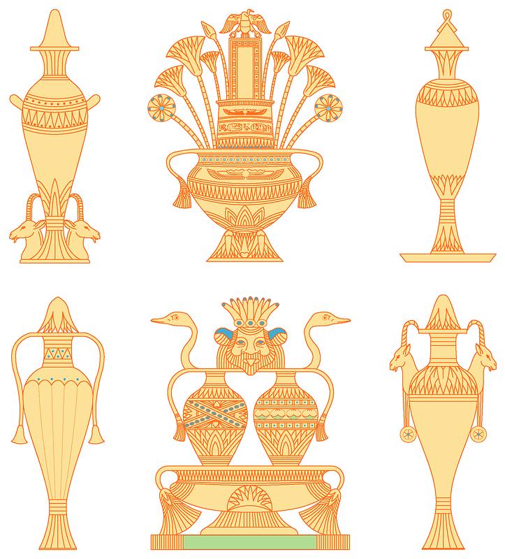 Egyptian vases set 2 vektor
