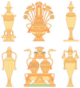 Egyptian vases set 2 vector
