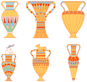 Egyptian vases set 3 vector