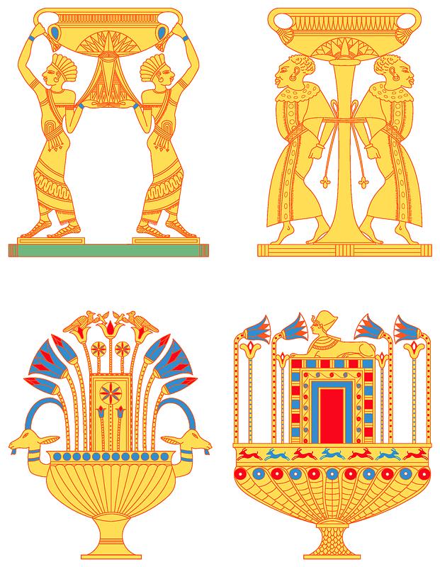 Egyptian vases set 4 vector