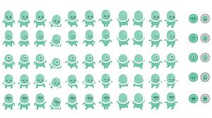 Green aliens vector