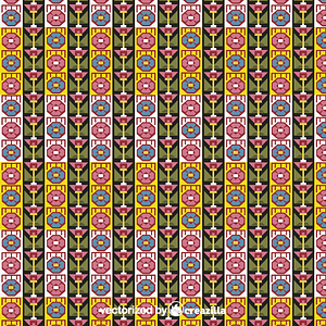 Geometric design with vertical rows of stylized flower heads vector