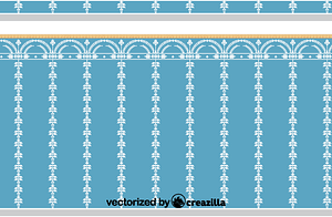 The wall panel is dark blue and decorated in white vector