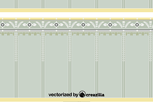 The wall panel with rosettes in circular medallions vector