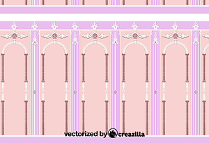 Three panels which show stilted arches formed by boughs and ornametal motifs vector