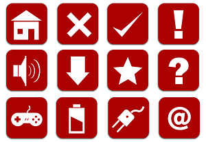 Home, Sound, Download, Delete, Question, Mark, Star, Done, Game, Joystick, At Sign Icons vector