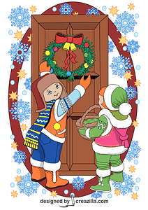 Children Decorating a Door with Christmas Wreath Card vector