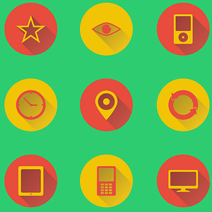 Eye, Star, Favorite, Ipod, Tablet, Monitor, Mobile, Map, Pin Icons vector