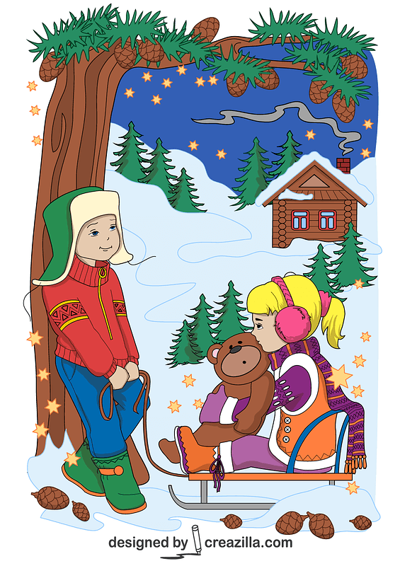 A Boy and a Girl on Sled in Winter Card vector