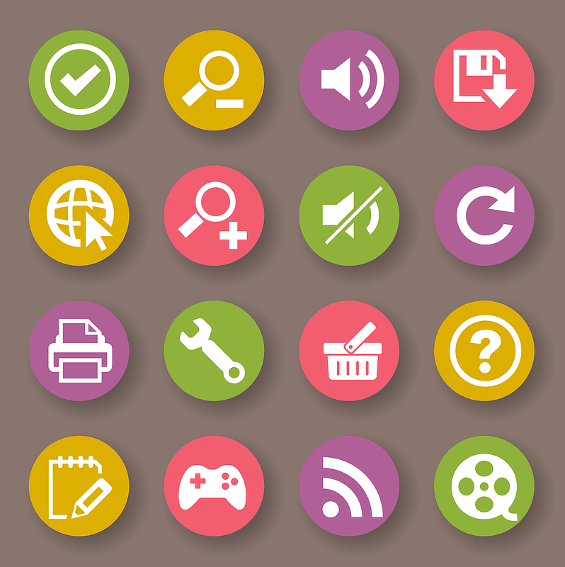 Done, Zoom, Sound On, Save, Start Over, Sound off, Printer, Settings, Bin, Question, Edit, Play, Wi Fi, Video Icons vector