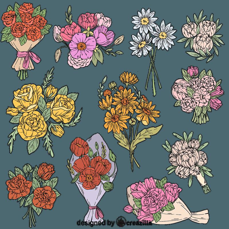 Set of Flower bouquet vector