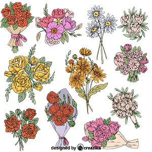 Set of Flower bouquet vector