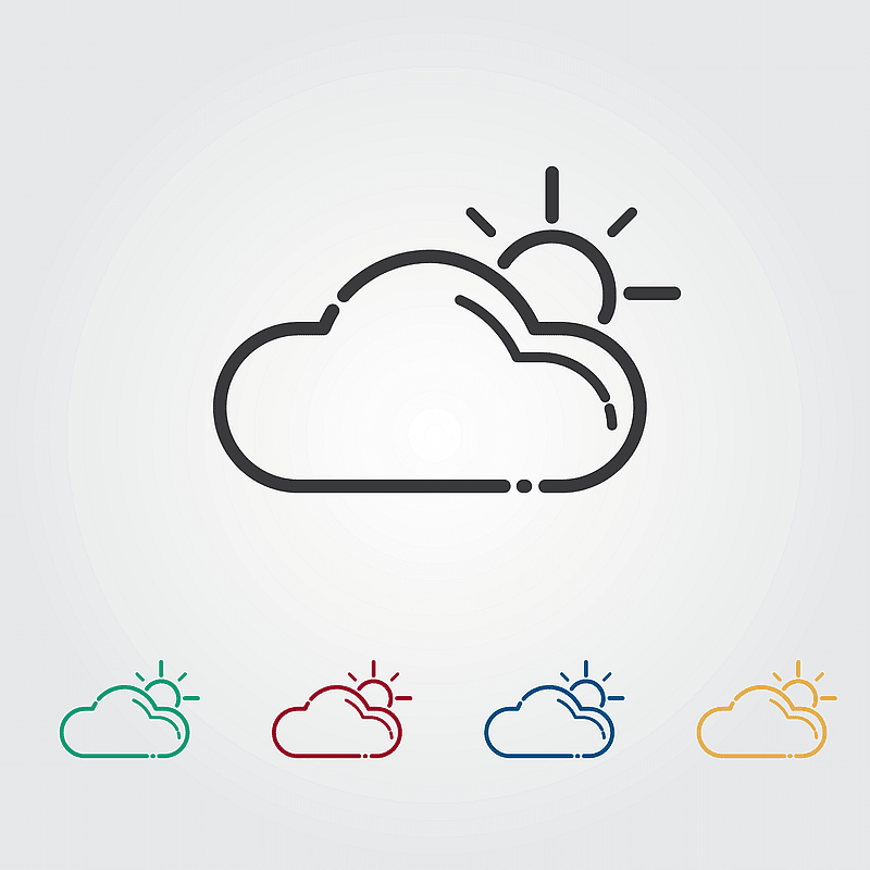 Cloud with a Shining Sun Icons vector
