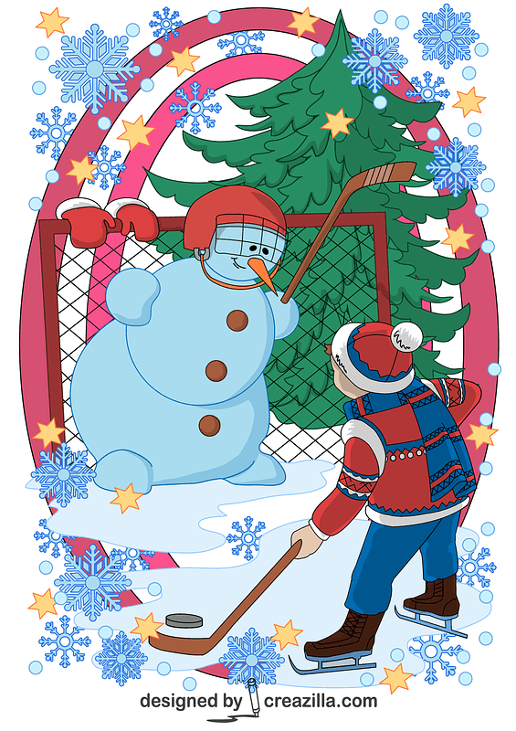A Boy and a Snowman Playing Hockey Card vector