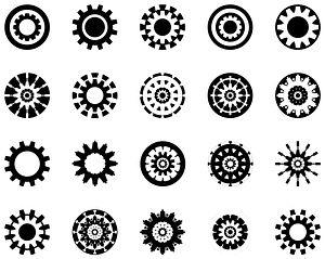 Black Gears Icons vector