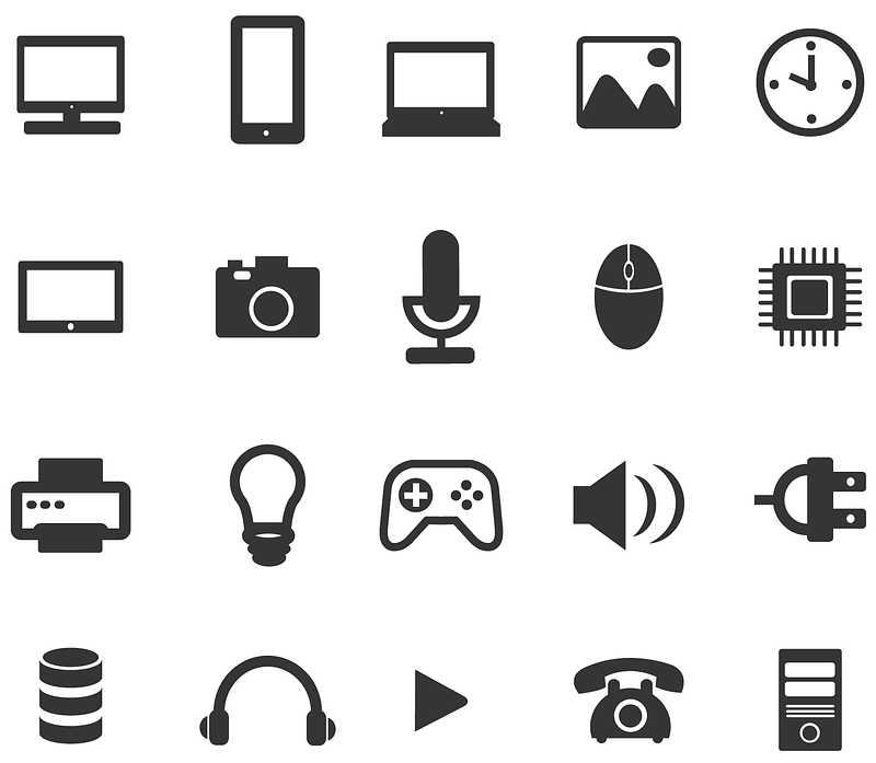 Black Icons PC, Game, Phone, Photo, Mobile vector