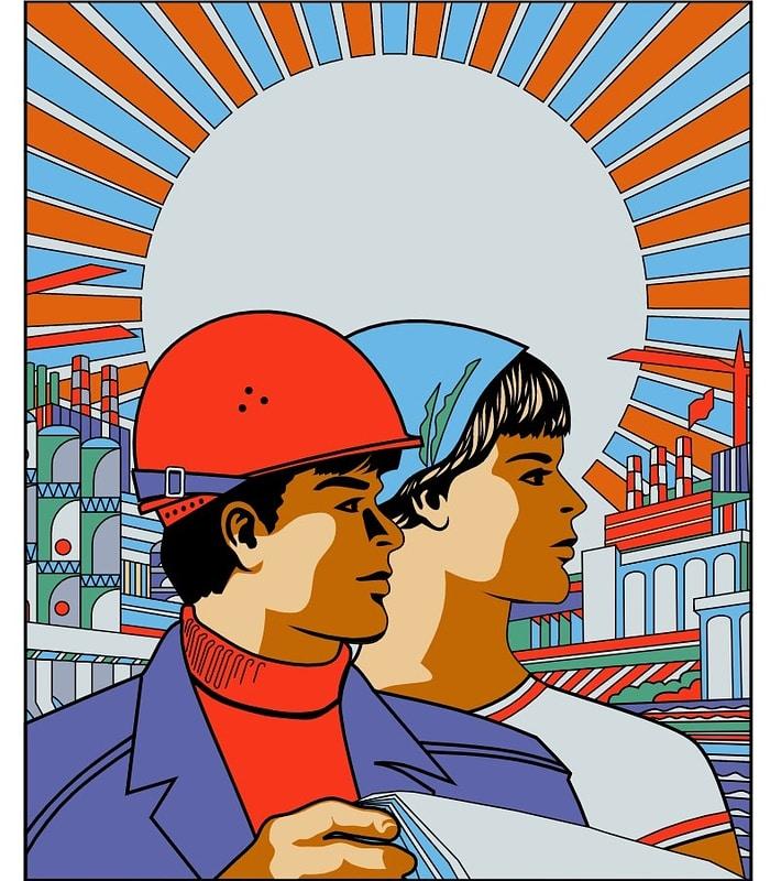Soviet Workers Poster vector