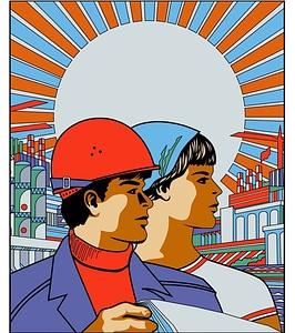 Vetor de Trabalhadores soviéticos poster