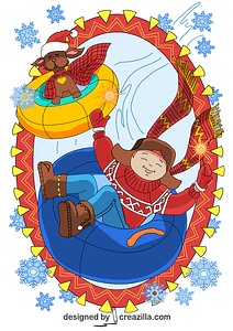 A Boy and a Dog are Sledding in Winter Background for a Card vector