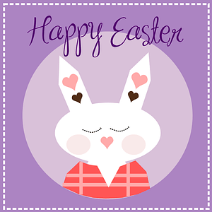 Violet Easter Card with Rabbit vector