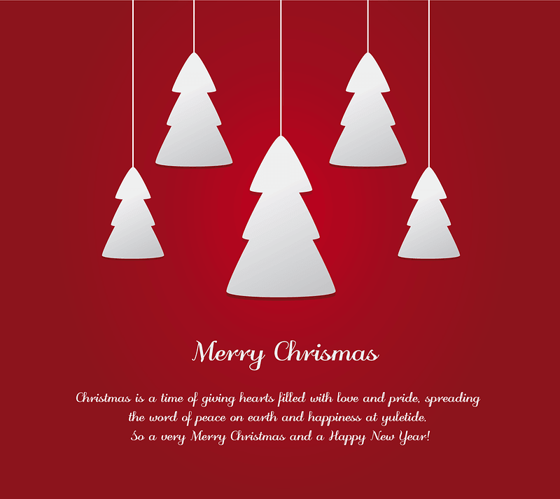 Greeting Card with Hanging Christmas Trees vector