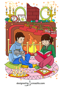 A Boy and a Girl Reading Tales on Christmas Eve Card vector