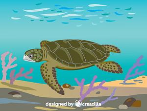 Flatback sea turtle vektor
