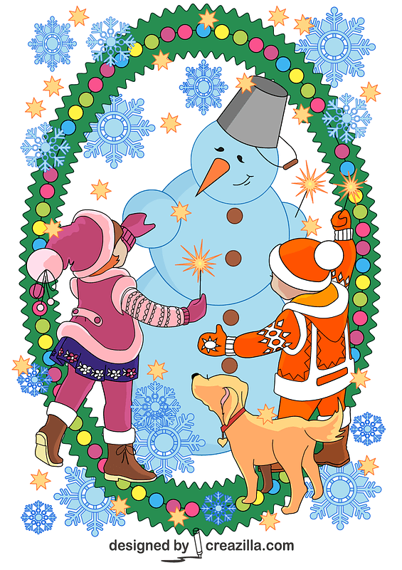 Children and Snowman Celebrating Happy New Year Background for a Card vector