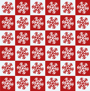 Snowflakes in Red and White Squares Seamless Pattern vector