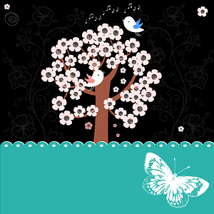 Sakura at Night with Bird and Butterfly Background vector