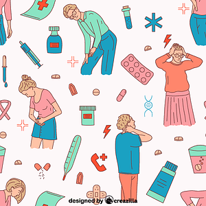 Pain and medicine pattern vector