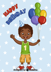 Birthday black boy vector