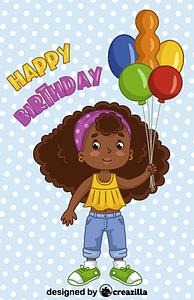 Birthday black girl vektori