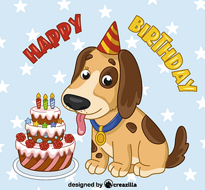 Birthday dog vector