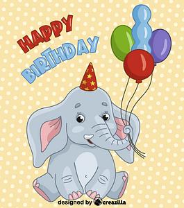 Birthday elephant vektori