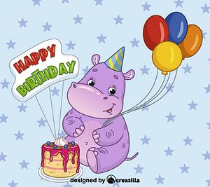 Birthday hippo vektori