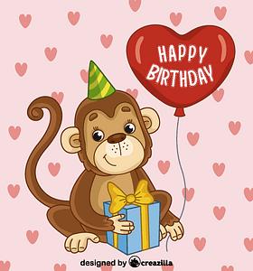 Birthday monkey vektori