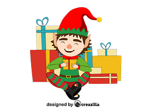 Christmas Elf with presents vector