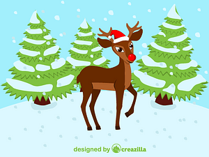 Red nosed Christmas Reindeer Rudolph vector