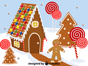 Gingerbread and gingerbread house vector
