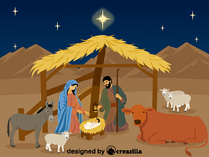 Nativity Scene and stable vector