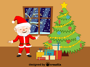 Santa Claus, christmas tree and presents vector
