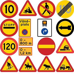 266 Road Signs of Sweden vector