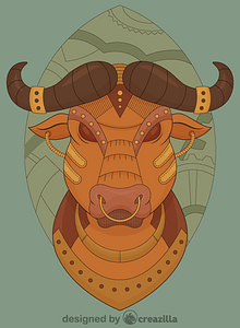 Steampunk Buffalo vector