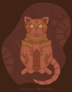 Steampunk Cat vector