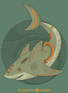 Steampunk Shark vector